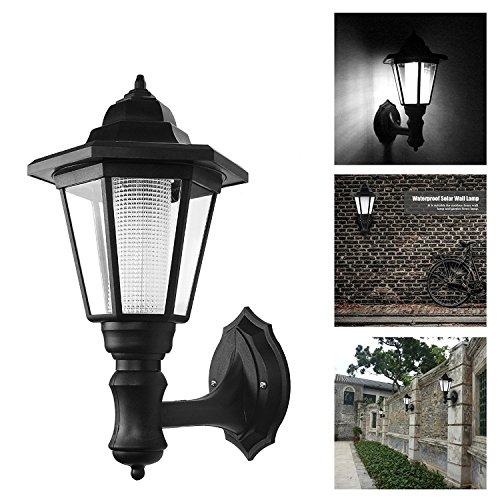 Powstro Solar Powered Wall Lantern Light Lamp Outdoor Garden Weatherproof LED Wall Lamp Hexagonal Light Lamp Exterior Sconce Lantern Lamp for Outdoor Landscape Garden Fence Yard (COOL WHITE) -- 2PCS
