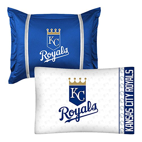 - 2pc MLB Kansas City Royals Pillowcase and Pillow Sham Set Baseball Team Logo Bedding Accessories