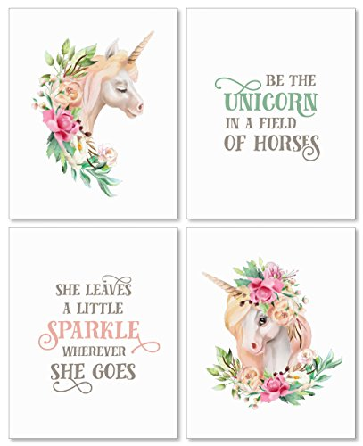 Figures Framed Art - Confetti Fox Girls Room Decor Unicorn Wall Art - 8x10 Unframed Set of 4 Prints - Watercolor Flowers Decoration Posters for Baby Nursery, Teens Bathroom, Bedroom