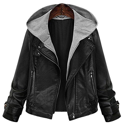 Chouyatou Women's Stylish Cropped Motorcycle Faux Leather Knit-Hooded Jacket (Medium, Black) - Hooded Leather Motorcycle Jacket