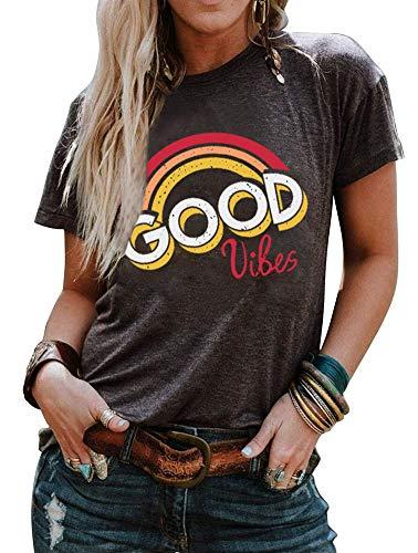 (MOMOER Good Vibes Shirt Vintage Letter Print Graphic Rainbow Tshirt Tees for Womens Short Sleeve Summer Cute Tops T Shirt)