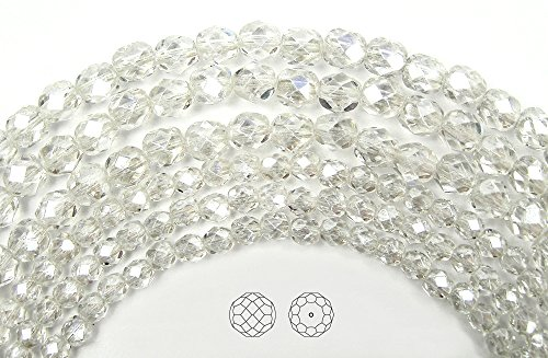 (4mm (102) Crystal Hematite (White Luster) coated, Czech Fire Polished Round Faceted Glass Beads, 16 inch strand)