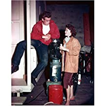 James Dean On Set Next to Water Cooler with Woman 8 x 10 Inch Photo