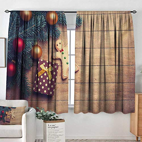 All of better Gingerbread Man Thermal Insulating Blackout Curtain Pine Branches Delicious Cookie and Present on Wood Planks Patterned Drape for Glass Door 63