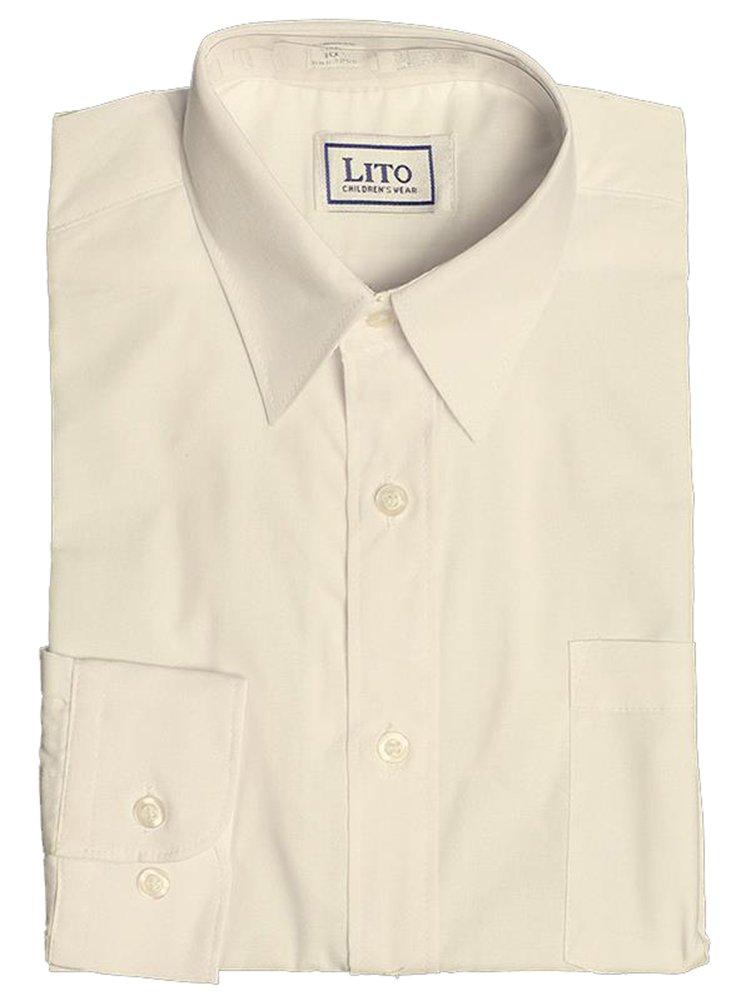Lito Ivory Long Sleeve Dress Shirt Front Pocket Wedding Ring Bearer (8)