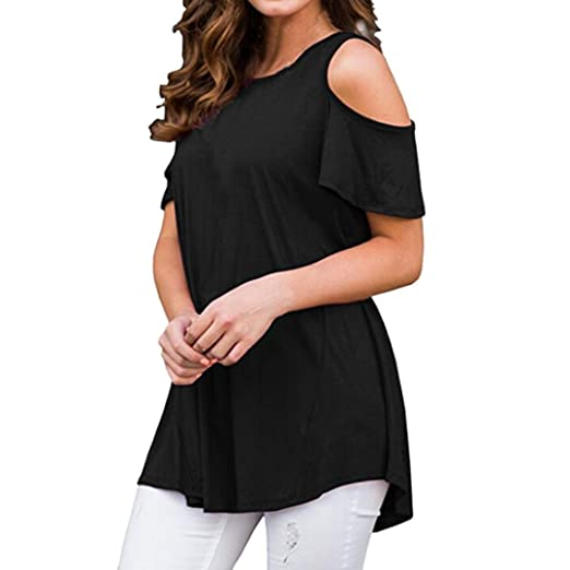 Blouse for Womens, FORUU Short Sleeve Casual Off Shoulder Sexy Loose Top T Shirt