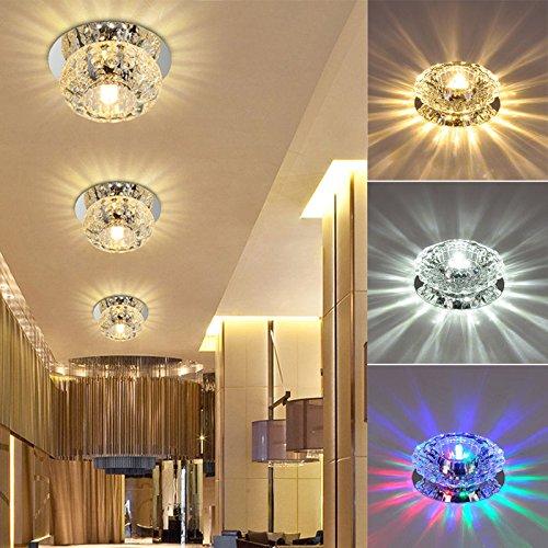 Led Swirl Six Ring Chandelier Pendant Light Contemporary: 1x 3W/5W Crystal LED Ceiling Light Fixture Pendant Lamp