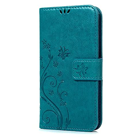 S5 Case,Samsung Galaxy S5 Case - Mavis's Diary Embossed Wallet Premium PU Leather with Fashion Floral Butterfly Magnetic Clasp Card Holders Soft TPU Rubber Inner Case Flip Cover with Hand Strap (Flip Cover Cases For Galaxy S5)