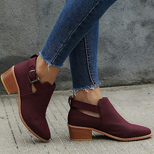 Boot Buckle Casual Comfortable 7 Heel Strappy Creazrise Wine Black Bootie Closed Toe Women's Walking Low P4wxARq