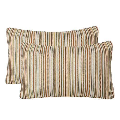 Pack of 2 Simpledecor Throw Pillow Covers Couch Pillow Shells,12X20 Inches,Jacquard Colorful Stripes,Multicolor Brown
