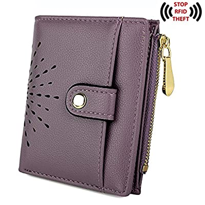 UTO Women's PU Leather RFID Blocking Wallet Card Holder Organizer Girls Cute Purse With Zipper Coin Pocket Purple