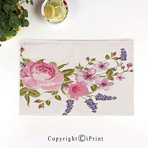 - LIFEDZYLJH Heat-Resistant Placemats,Stain Resistant Anti-Skid Washable Table Mats Woven Vinyl Placemats,Bridal Style Garland of Rose Sakura and Lavender Vintage Artistic Bouquet Flora,Multicolor