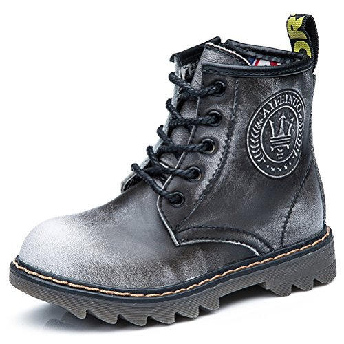 Little Big DADAWEN Kid Boy's with Zipper Side Toddler Boot Up Fur Leather Ankle Lace Gray Kid Girl's pvp7g