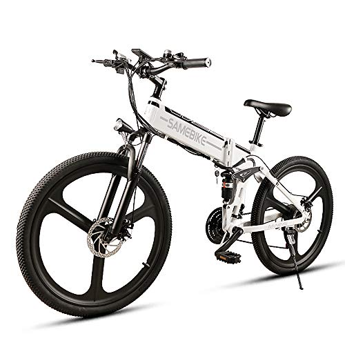 Lixada Folding Electric Bike 26 Inch Strong Aluminum Assist Bicycle E-Bike Conjoined Rim Scooter 48V 350W Motor,Super Bright LED Headlight and Taillight