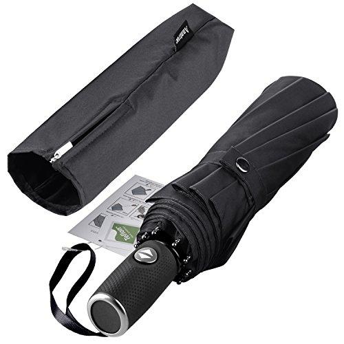 (Anntrue Travel Umbrella Windproof, Auto Open Close Compact Umbrellas for Women and Men Teflon Coating with 10 Rib Construction, Zipper Pouch (Black) )