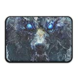 HOMESTORES Blue Eyes Cool Wolf Painting Art Bath Mat - Memory Foam Shower Spa Rug Bathroom Kitchen Floor Carpet Home Decor With Non Slip Backing17x24 Inch