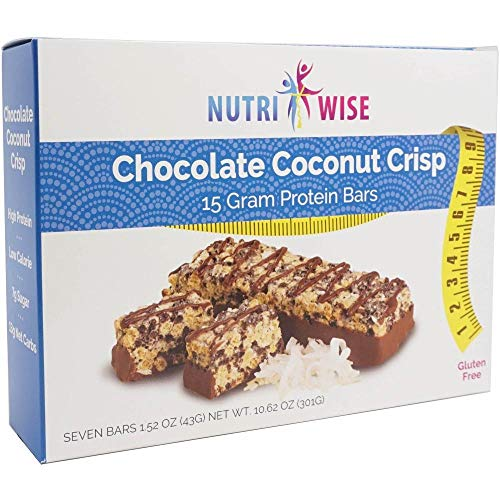 NutriWise - Chocolate Coconut Crispy Diet Bar | Low Sugar, Low Cal, Low Fat, High Protein, Gluten Free (7/Box)