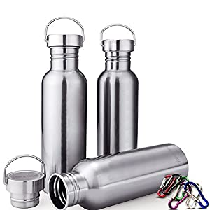 Triple Tree Sports Water Bottle 304 18/8 Stainless Steel Uninsulated Single Walled Construction For Cyclists, Runners, Hikers, Beach Goers, Picnics, Camping - BPA Free. (17 ounces)