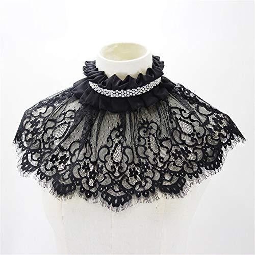 Necktie Black Background (Fashion Ladies Beads Detachable Separate Fake Collar Womens Elegant Shawl Black Lace Necktie)