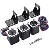 Stepper Motor, Longruner 3 Packs Nema 17 Stepper Motor 1.7A 0.59 Nm 84oz.in 48mm Body w/ 1m Cable & Connector for 3D Printer/CNC with Motor Mounting Bracket and 3 * 6mm M3 Screws