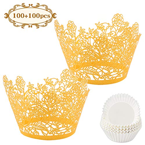 BAKHUK 200pcs Gold Rose Lace Cupcake Wrapper and Baking Cup, Artistic Flowers and Leaves Baking Cupcake Paper Cup Laser Cut Liner, Muffin Cake Cup for Wedding Party, Birthday Cake Decoration Supplie