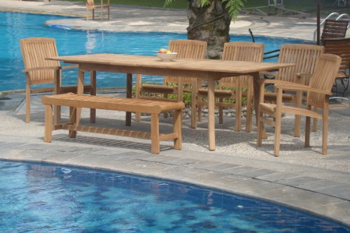 (New 7 Pc Luxurious Grade-A Teak Dining Set - 94