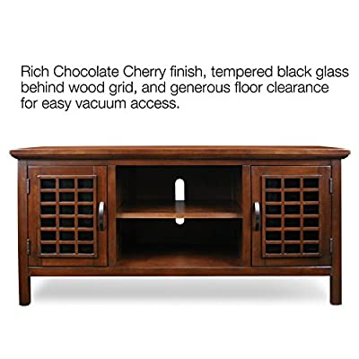 """Leick 50-Inch Wide TV Stand with Black Glass, Chocolate Cherry - Hold's TV's up to 52"""" Black glass behind Wood grid design allows for remote control use, Adjustable center storage shelf and one storage shelf behind each side door Constructed of select solid hardwoods and wood veneers with a hand applied multi-step chocolate cherry finish - tv-stands, living-room-furniture, living-room - 51KpiJlvAfL. SS400  -"""
