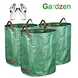 Gardzen 3-Pack 72gallons Gardening Bag with Gloves - Reuseable Heavy Duty Gardening Bags, Lawn Pool Garden Leaf Waste Bag