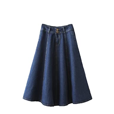 386c166c46 Everythingvogue Women's Long Jean Pleated Denim A-Line Skirt Color Dark  Blue Size 2