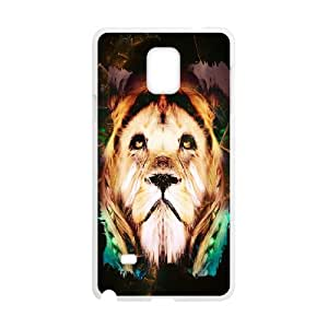 {Funny Series} Samsung Galaxy Note 4 Case Lion 19, Antislip Case Okaycosama - White