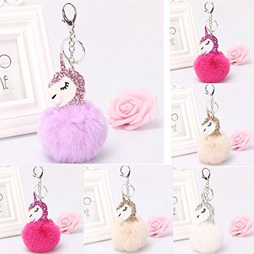 Omiky® - Porte-clés mignon avec pendentif licorne, pour sac à main, décoration de voiture, Begie, Mini