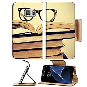 Luxlady Premium Samsung Galaxy S7 Flip Pu Leather Wallet Case IMAGE ID: 24557067 picture of a pile of books and eyeglasses with a retro effect