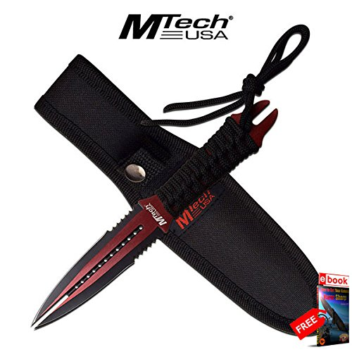 "FIXED BLADE DAGGER Mtech 8.5"" Red Black Double Edge Blade Dual Tip Wasp Knife razor sharp + FREE eBOOK by MOON KNIVES!"