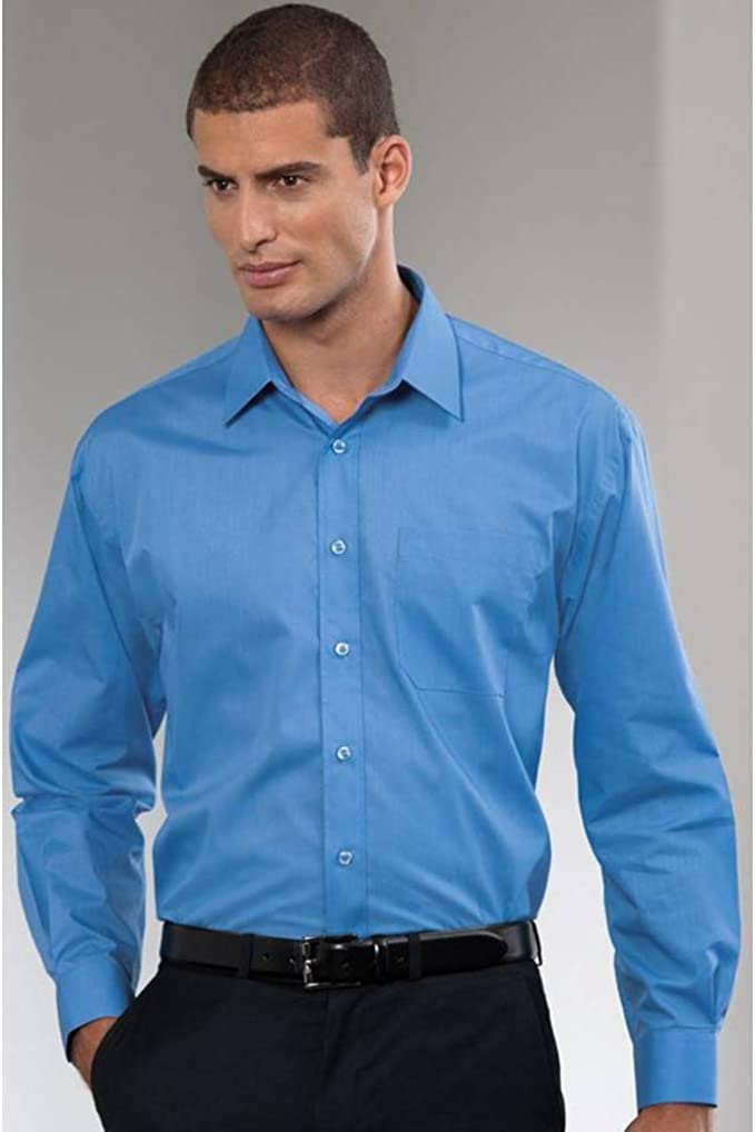 Russell Collection Mens Long Sleeve Easy Care Poplin Workwear Smart Office Shirt