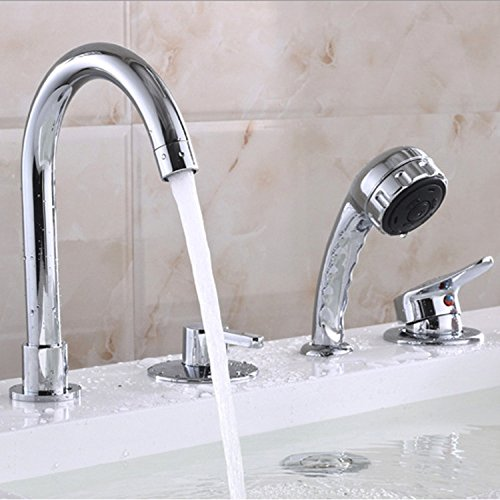 Hlluya Professional Sink Mixer Tap Kitchen Faucet Showers full copper sitting in line four holes in the side of the Bath Faucet with shower