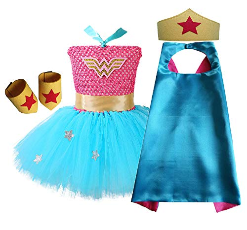 O'COCOLOUR Tutu Dress Girls Wonder Woman Dress Up Costume with Cape and Mask (Blue&Hot Pink, -