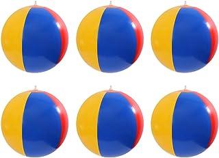 Toyvian Ballon de Plage Gonflable Piscine Couleur Arc-en-Ciel Partie Jouets, 6 pcs (Couleur aléatoire)