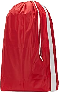 HOMEST XL Nylon Laundry Bag with Strap, Machine Washable Large Dirty Clothes Organizer, Easy Fit a Laundry Hamper or Basket, Can Carry Up to 4 Loads of Laundry, Red, (Patent Pending)