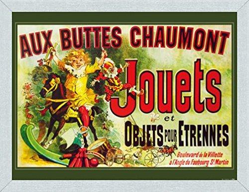 Vintage Poster Art Print and Frame (MDF) Brushed Aluminium - Aux Buttes Chaumont, Jouets Et Objets Pour Étrennes, Jules Cheret, 1885 (32 x 24 - Style Jennifer Anniston