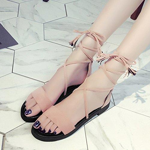 RUGAI-UE Sandalias Verano Zapatos Zapatos de Mujer de patinaje Pink