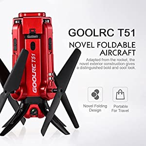 Drone with HD Camera,GoolRC T51 Rocket WIFI FPV Quadcopter With 720P 2MP HD Camera Altitude Hold Mode Foldable APP Control Pocket Drone RTF With Bonus Battery from GoolRC