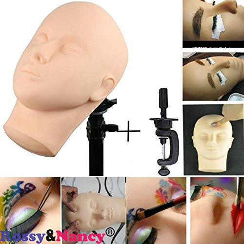 Price comparison product image Rossy&Nanncy Cosmetology Massage and Makeup and Eyelash Extension Practice Mannequin Face with Table Clamp
