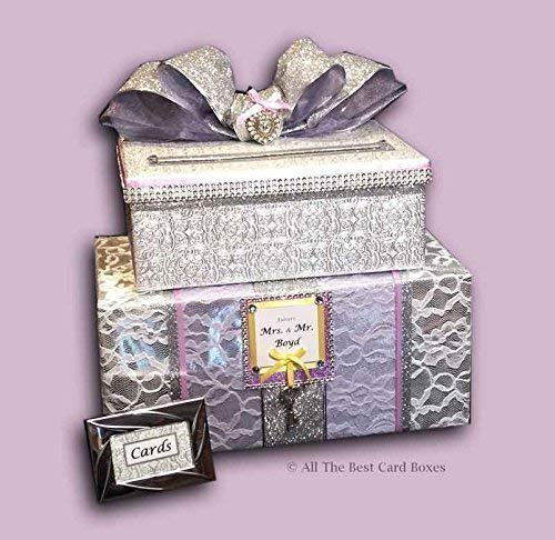 Purple Wedding Card Box, Bling, Silver, two tiers, Key and Heart Charms, White Lace, Personalized, All The Best Card Boxes, Customize