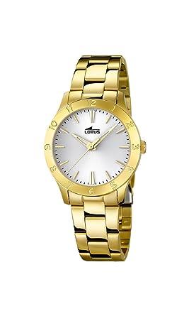 Lotus 18140/1 Trendy- Reloj de cuarzo para mujer con correa de acero, color dorado: Amazon.es: Relojes