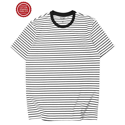 Zengjo Essential Stripes T-Shirts Comfort Short-Sleeve Crew-Neck Striped Tee Top (XS, White&Black Narrow)
