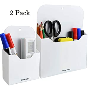 Magnetic Markers Pencil Holder Whiteboard Organizer Storage Pocket- Refrigerator Storage Pocket for Pen, Pencils, Markers, Keys, Note Paper - Ideal for Whiteboard, Locker, Cabinet, Container