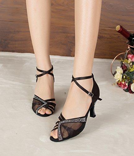 Miyoopark Womens Mesh Stylish Wedding Sandals Latin Dance Shoes Black baRWJ