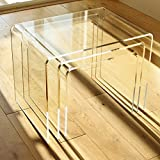NEST OF 3 TABLES - 8mm Clear Acrylic, Diamond Polished Edges, British Made