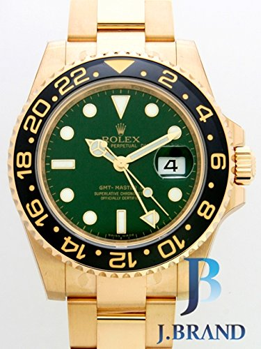 Rolex Mens Unused 116718 GMT Master 2 Green Dial Ceramic Bezel 18k Yellow Gold Oyster ()