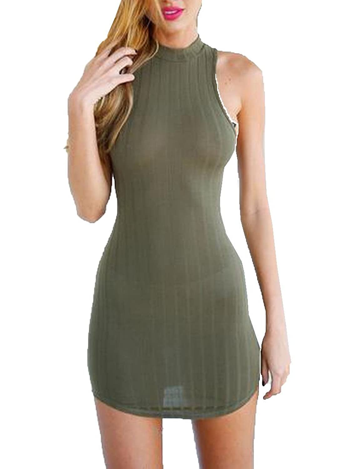 Abetteric Womens Essential Kniting Back Cross Hollow Out Bodycon Dress
